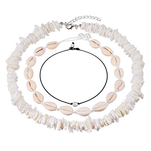 Cowrie Shell Choker Necklace Puka Chips Shell Surfer Choker Necklace Jewelry Set Adjustable Cord Necklace