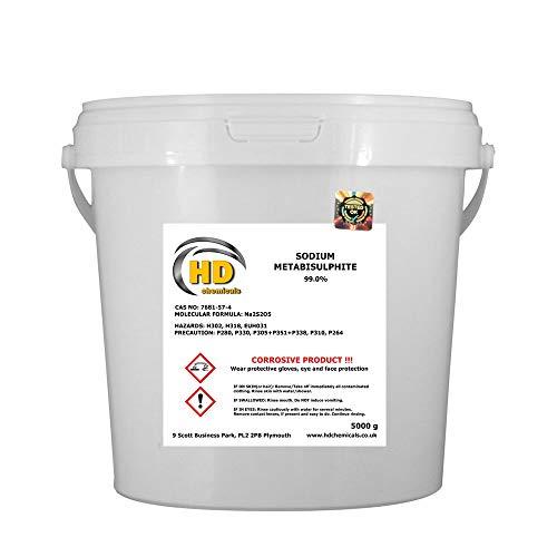 Metabisulfito de sodio 5 kg Cubo de cerveza casera y vino * 99% puro * libre de P&P
