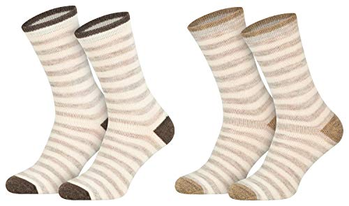 2 Paar Alpaka Socken Socks Warme Wollsocken Frauen Damen Geringelt atmungsaktive Kuschelsocken feinster Wolle 35 36 37 38