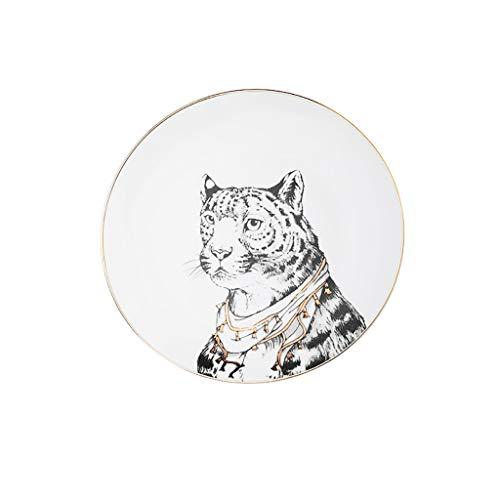 SFF Platos Hondos Placas Almuerzo Placas de Cena de Porcelana Premium Sirviendo Platos Plato Dorado Dorado Animal Platos de Postre (Color : D)