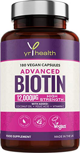 Biotin Tablets for Hair 12000mcg - Advanced Biotin Hair Growth Supplement with Coconut Oil, Vitamin C & Folic Acid - 180 Vegan Capsules Hair Vitamins for Women & Men - Made in UK by YrHealth