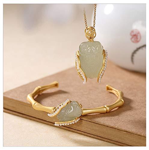 RXSHOUSH Collar con colgante de Cicada para mujer chapado en oro, jade hetiano y bambú Cicada Open Set de pulsera de alta gama con caja de regalo + pulsera