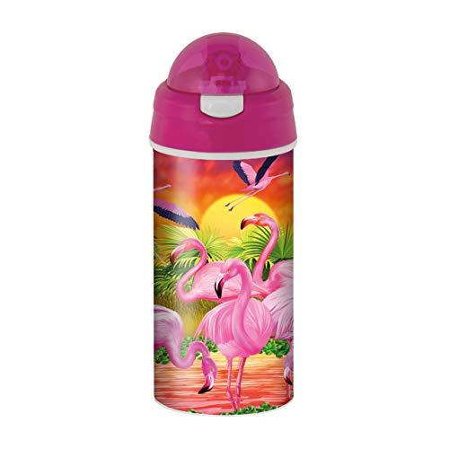 3D LiveLife Trinkflasche - Flamingo Lingo von Deluxebase. 3D Linsenförmige Tier Wasserflasche mit Stroh. 600 ml kinder Trinkflasche mit original kunstwerk von bekannt Künstler, Michael Searle