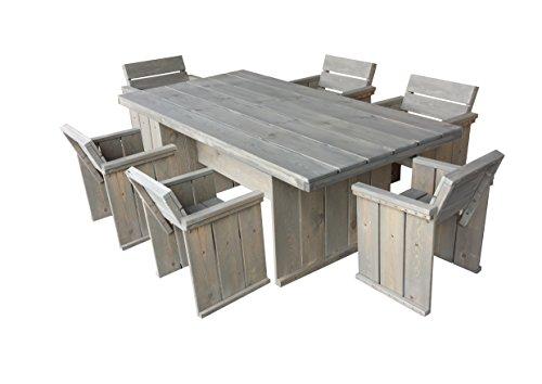 Gartenmöbel Set in Bauholz Optik , Gartentisch 200 x 100 cm + 6 Gartenstühle