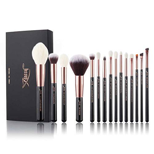 Jessup Brand Beauty 15 pezzi Fondotinta Trucco Kit di pennelli per il viso Polvere Sfumeture Ombretto Pennelli in Setola Tool Kit & Set Nero/Oro rosa T162