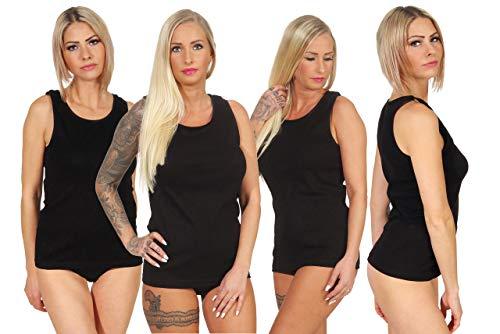 Good Deal Market 4 Damen Vollachsel Unterhemden schwarz 100% Baumwolle Gr. 52/54 Top Damen unterhemd Spaghetti Tops Damen