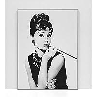 BaikalGallery Audrey Hepburn - Cuadro Enmarcado (M1038) MOLDURA DE Aluminio Plata DE 1,5CM- Montaje EN Panel Adhesivo Y Ligero (Foam)- Laminado EN Mate (SIN Cristal) (45x60cm)