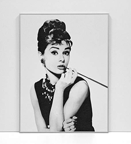 BaikalGallery Audrey Hepburn - Cuadro Enmarcado (M1038) MOLDURA DE Aluminio Plata - Montaje EN Panel Adhesivo Y Ligero (Foam)- Laminado EN Mate (SIN Cristal) (60x80cm)