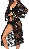 Tuopuda Copricostume da Bagno Cardigan Donna Lungo Pizzo Abito da Spiaggia Mare Cardigan Kimono Elegante Copricostumi e Parei Bikini Cover Up (Nero)