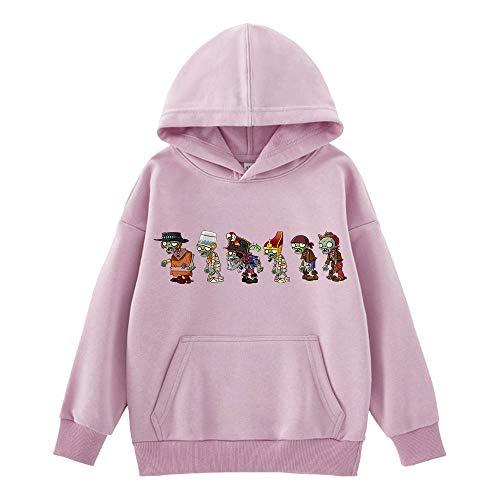 Plants vs. Zombies Abrigos de Manga Larga Estilo Occidental Pullover cómodo Sudaderas con Capucha Suave Encantadora Ocio Imprimir Outwear for niños y niñas niños (Color : Purple11, Size : 100)