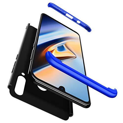 JOYTAG Funda Compatible Huawei Y6 2019,Funda+Protectora de película de Vidrio Templado 360 Grados Caja del teléfono de la protección 3 en 1 Case-Azul Negro