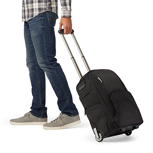 AmazonBasics Convertible Rolling Camera Backpack Bag - 15 x 22 x 10 Inches, Black