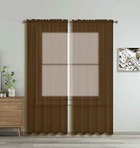 """Brown Window Sheer Treatment Panels Beautiful Rod Pocket Voile Elegance Curtains Drapes for Living Room, Bedroom, Kitchen Fully Stitched, Set of 2 (Coffee Brown, 84"""" Inch Long)"""