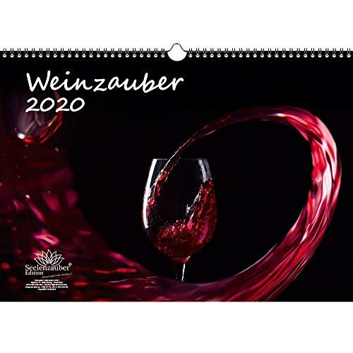 Wijnmagie DIN A3 kalender 2020 wijn- en wijnbergen, cadeauset: 1 extra wenskaart en 1 kerstkaart - zielmagie