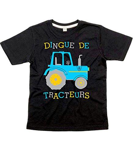 avis tracteur professionnel Crazy Tractor Design Trois T-shirts noirs avec imprimés saphir, jaune et argent pour les enfants de 9 à 11 ans