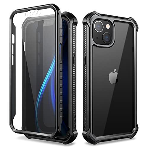 Dexnor Funda para iPhone 13(6.1')con Protector de Pantalla Incorporado Frente y Parte Posterior de Transparente Cuerpo Completo Exterior Cubierta Protectora a Prueba de Golpes - Negro
