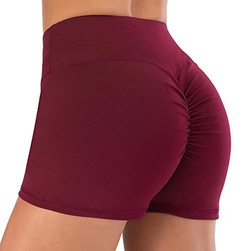 WZGGZWGG Sport Shorts Fitness Active Enge Shorts Spandex Damen Gym Yoga Shorts for Damen Lauf (Color : Weinrot, Size : S)