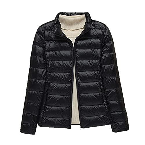 Damska cienka kurtka puchowa z białego puchu kaczego ultralekkie kurtki jesienne i zimowe ciepłe płaszcze przenośna odzież wierzchnia-czarna bez kapelusza, XXXL