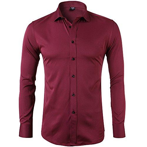 Camisa Bambú Fibra Hombre, Manga Larga, Slim Fit, Camisa Elástica Casual/Formal para Hombre, Granate, 40 (Cuello 40CM, Pecho 104CM)