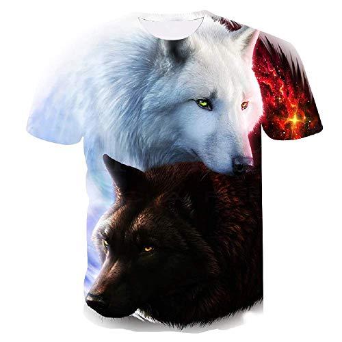Lovelegis T-Shirt - Maglietta - Maglia Lupo - Yin Yang - Tao - 3D - Maniche Corte - Uomo - Donna - Unisex - Divertenti - Idea Regalo - Cosplay - Taglia XXL - C013