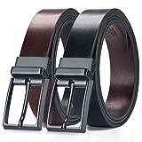 MEIRUIER Cuero Cinturón Reversible,Perfecto Regalo,Cinturon Hombre Cuero Negro Marrón Jeans Reversible Piel para Hombres Clásico Negocios Casual (Negro&marrón-3, 120cm(Cintura32-42'))