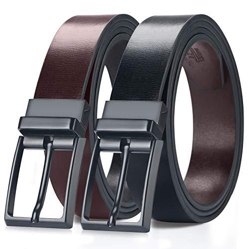 """MEIRUIER Cuero Cinturón Reversible,Perfecto Regalo,Cinturon Hombre Cuero Negro Marrón Jeans Reversible Piel para Hombres Clásico Negocios Casual (Negro&marrón-3, 120cm(Cintura32-42""""))"""