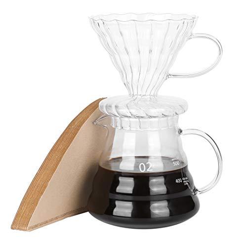 Pour Over Kaffeebereiter Hitzebeständig Borosilikatglas Kaffee Tropfer mit Filterpapier