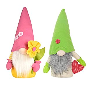 Silk Flower Arrangements 2PCS Mother's Day Gnomes Gift,Spring Flowers Dwarf Gnome Home Decoration Mothers Day Memorial Gifts for Wife Personalised Mothers Day Decoration,Handmade Lucky Mum Heart Gonks Gnome