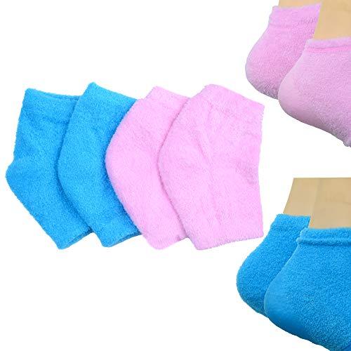 Makhry 2 Paires Chaussettes à Talons en gel de Silicone hydratantes avec Réseau pour Hydrater la peau Sèche et Craquelée (Bleu+Rose)