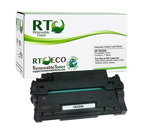Renewable Toner Compatible Toner Cartridge Replacement for HP 55A CE255A Laserjet Pro P3010 P3015dn M525dn (Black)