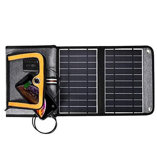 All-Purpose Double Chargeur Solaire USB, Chargeur de Panneau Solaire 22W Chargeur de Voyage de Camping Portable Pliable étanche pour Tablette Smartphone Camera Powerbank et Plus