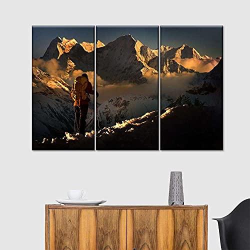 AWER 3 piezas de lienzo de arte de pared,Kangtega Peak Multi Panel,Cuadro geométrico Abstracto,HD Imagen Impresiones En Lienzo,decoración de Dormitorio,en un Marco