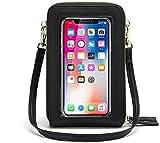 Handy Umhängetasche Damen Touchscreen Tasche Handy Wasserdicht Handtasche Schultertasche Leder Frauen Brieftasche Retro Crossbody kleine Handy Tasche für iPhone 11 Pro/11/Xs Max/XR/Xs (Schwarz)