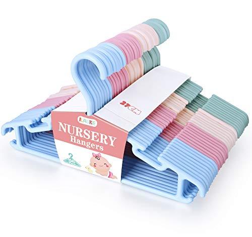ilauke Juego de 36 Perchas de Plástico para Ropa para Niños, Perchas de Colores que Ahorran Espacio en el Armario