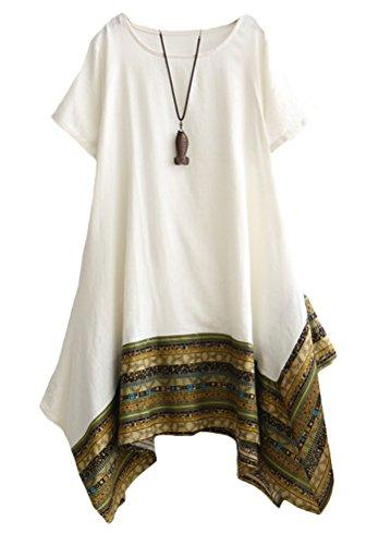 Vogstyle Damen Sommer Kleid Kurzarm Unregelmäßige Saum Ethnisch Mischfarben Baumwolle Leinen Lang Bluse Shirt White L