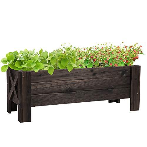 Outsunny Huerto Urbano Jardinera Macetero de Madera Arriate de Jardín Rectangular con Patas para Flores Plantas Cultivos 100x36,5x36 cm Marrón