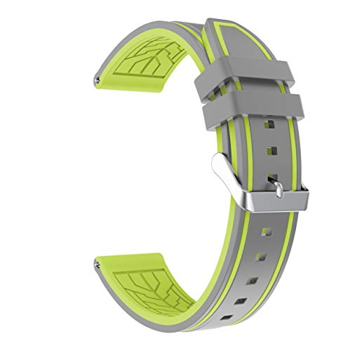 Fmway Repuesto de Correa Reloj 22mm de Silicona para Samsung Galaxy Watch 46mm / Gear S3 Frontier/Gear S3 Classic/Moto 360 2. Generation 46mm, Hombre y Mujer (Gray + Lemon)