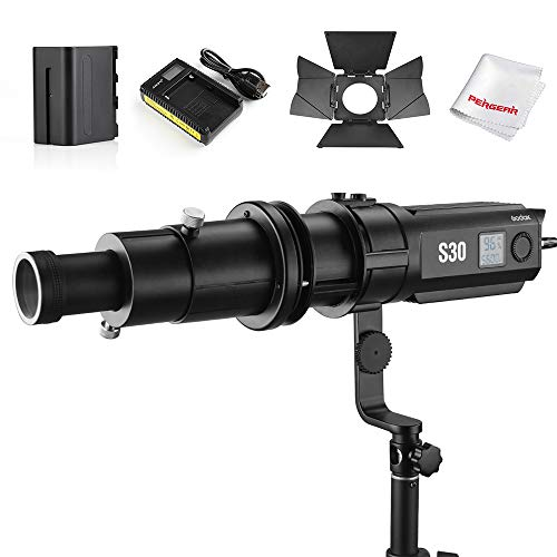 Godox S30 Focusing Fresnel LED Video Light, SA-P Projection Attachment with SA-01 85mm Lens,5600K Daylight, CRI96+ TLCI9+ Accurate Color, Beam Angle 6°to 55°, Comes with Battery Packs