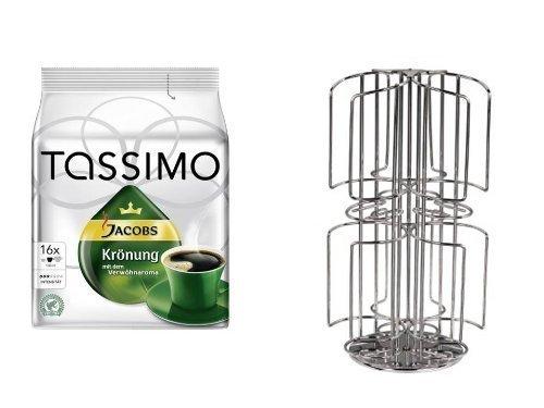 Tassimo Jacobs Krönung + dem neuen Kaffee-Kapselhalter für Tassimo 48 Disc mit Milchschacht für grosse Kapseln