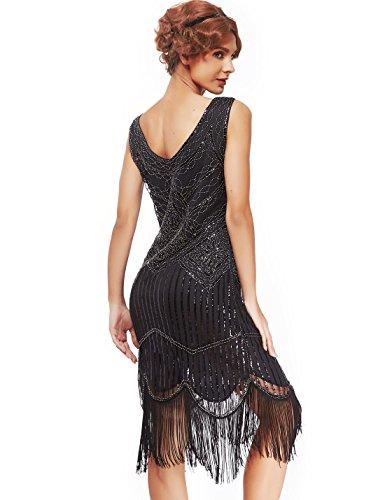 Women's Roaring 20s V-Neck Gatsby Dresses- Vintage Inpired Sequin beaded Flapper Dresses (S, black)