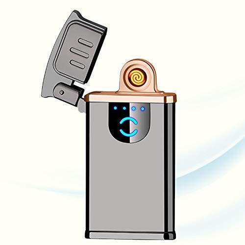 CMSJ Winddichtes Feuerzeug Wiederaufladbarer Touch-Induktions-Zigarettenanzünder Flammenloses USB Smart Ultra-Dünnes Feuerzeug Mit Ladedisplay Für Zündung Im Freien,A