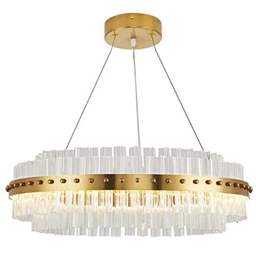 Jiji kroonluchter LED kristallen kroonluchter dimbaar Moderne minimalistische ronde lampenkap hanglampen lijnlengte 1,2 m verstelbare plafond hanglampen