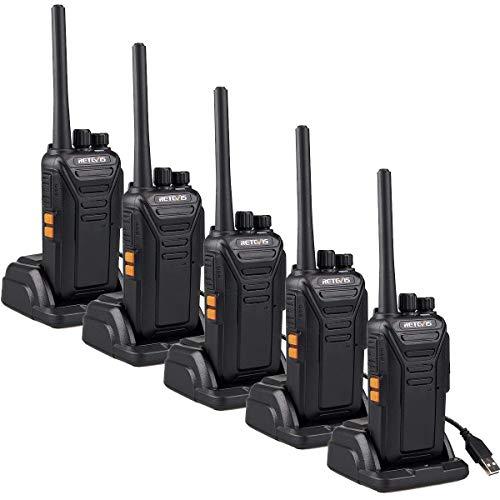 Retevis RT27 Walkie Talkie Recargable, Walkies Profesionales, PMR446 sin Licencia, 16 Canales CTCSS/DCS, VOX Mains Libres, Walkie-talkie con Cargador USB (5 Piezas,Negro)