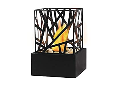 Bio Ethanol Fireplace Indoor Outdoor Camping Glass Top Burner Fire Funky Black Tabletop