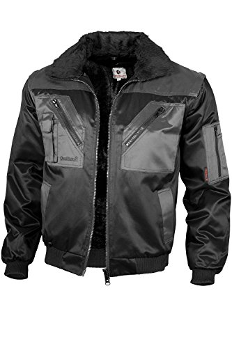 Qualitex - Pilotenjacke 4 in 1, Schwarz/Grau , XL