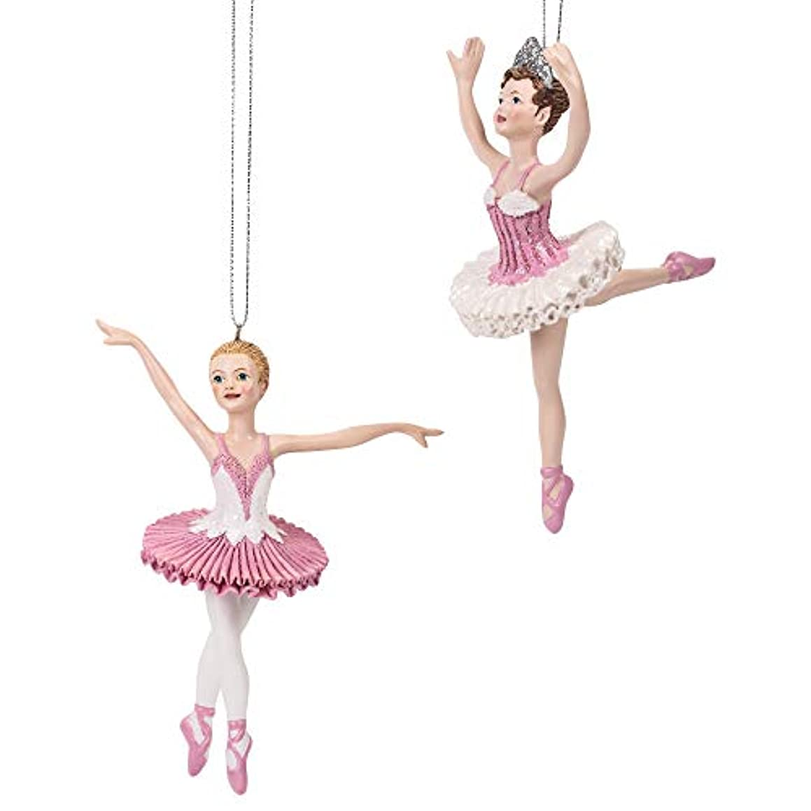 Midwest-CBK Ballerina Pretty Pink PVC and Rayon 7 x 5 Christmas Ornaments Set of 2