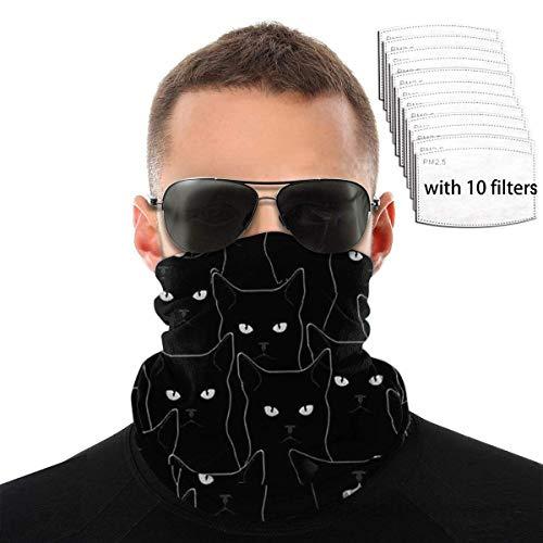 Mamihong Black Cat Protección UV Mascarilla Polaina para el Cuello con 10 filtros, Bufanda a Prueba de Viento, Diadema, Protector Solar, Bandana Transpirable