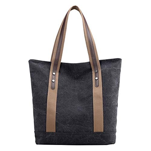 PB-SOAR Damen Vintage Canvas Shopper Schultertasche Handtasche Beuteltasche Einkaufstasche 32x36x12cm (B x H x T) (Schwarz)