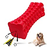 VANFINE Dog Squeaky Toys Almost Indestructible Tough Durable Dog Toys Dog chew Toys for Large Dogs Aggressive chewers Stick Toys Puppy Chew Toys with Non-Toxic Natural Rubber (6.5inch-Cube, Red)