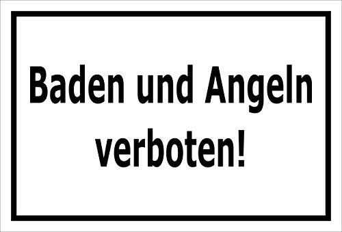 Melis Folienwerkstatt Schild Baden Angeln verboten 30x20cm - Bohrlöcher - 3mm Hartschaum – 20 VAR S00110-003-A